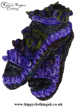 Mohair Fringe Standard size Wool Fleece Lined Socks Purple