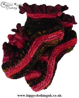 Mohair Fringe Standard size Wool Fleece Lined Socks Red