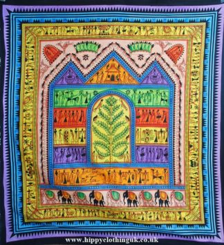 Multicoloured Hippy House Art Pattern Throw, Wall Hanging, Bed Spread