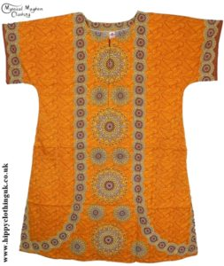 Mustard Coloured Long Cotton Thai Kaftan Dress Unisex