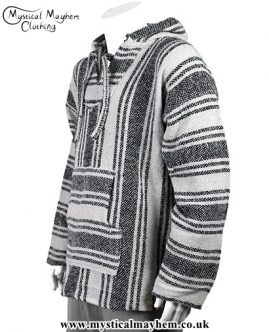Natural Mexican Jerga Baja Hooded Hippy Festival Top