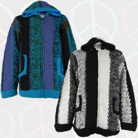 Nepalese Striped Hooded Wool Jackets