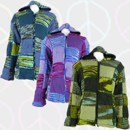Wool Patchwork Hooded Jacket