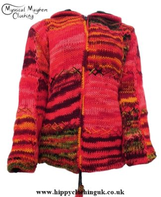 Nepalese Festival Pixie Hooded Wool Jacket Red Hippy Clothing