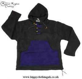 Nepalese Festival Wool Fleece Lined Hooded Jumper with Kangaroo Pocket Black with Blue