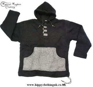 Nepalese Festival Wool Fleece Lined Hooded Jumper with Kangaroo Pocket Black with Light Gray