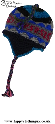 Wool Fleece Lined Over the Ear Nepalese Hat with Fleece Lining