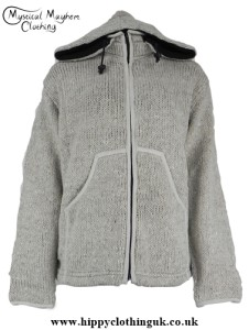 Off White Hippy Festival Nepalese Wool Jacket With Removable Hood