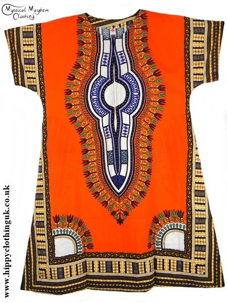 Orange Coloured Long Cotton Thai Kaftan Dress Unisex