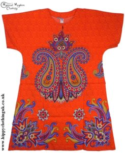 Orange/Red Coloured Long Cotton Thai Kaftan Dress Unisex
