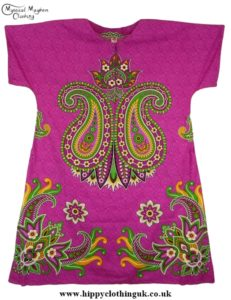 Pink Coloured Long Cotton Thai Kaftan Dress Unisex b