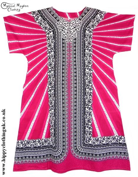 Pink Coloured Long Cotton Thai Kaftan Dress Unisex