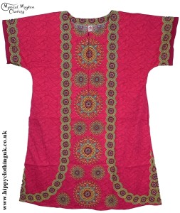 Pink Coloured Long Cotton Thai Kaftan Dress Unisex