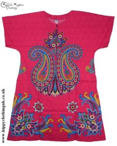 Pinkish Coloured Long Cotton Thai Kaftan Dress Unisex