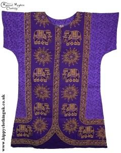 Purple Coloured Elephant Long Cotton Thai Kaftan Dress Unisex
