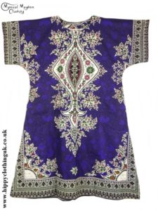 Purple Coloured Long Cotton Thai Kaftan Dress Unisex