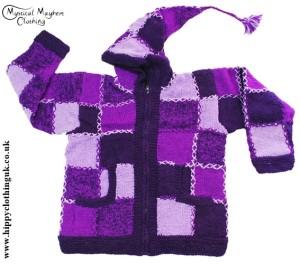 Purple Festival Pixie Hooded Patchwork Nepalese Hooded Wool Jacket