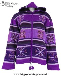 Purple Nepalese Style Wool Fleece Lined Hooded Jacket with Embroidery Work