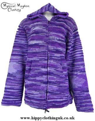 Purple Tie Dye Striped Nepalese Hooded Wool Festival Jacket