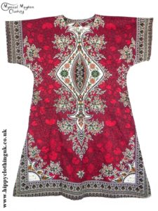 Red Coloured Long Cotton Thai Kaftan Dress Unisex
