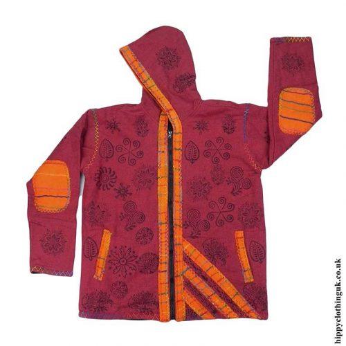 Red-Floral-Design-Jacket-with-Felt-Trim