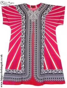 Red/White Coloured Long Cotton Thai Kaftan Dress Unisex