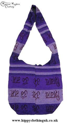 Small Cotton Hippy Festival Shoulder Bag Purple