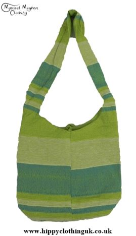 Small Cotton Hippy Festival Shoulder Bag Green