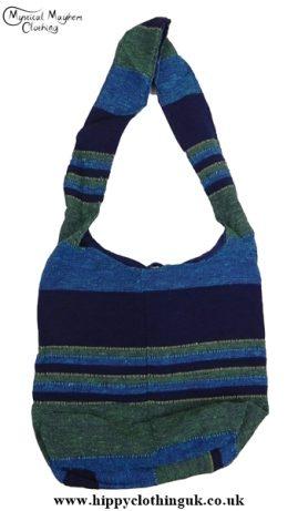 Small Cotton Hippy Festival Shoulder Bag Blue/Green