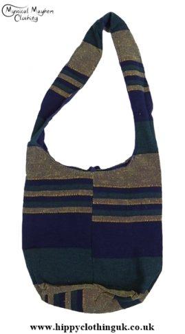 Small Cotton Hippy Festival Shoulder Bag Blue/Green/Yellow
