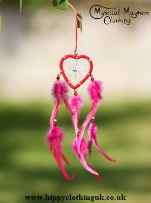 Small Keyring Size Love Heart Cotton Dreamcatcher