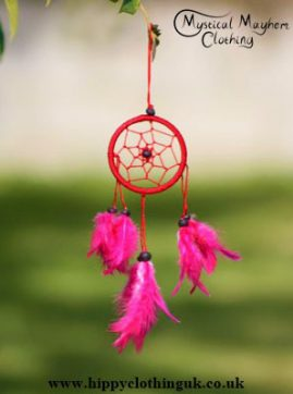 Small Keyring Size Red Round Dreamcatcher