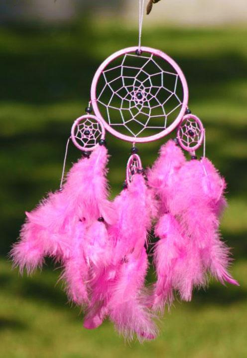 Small Pink Cotton round Dreamcatchern