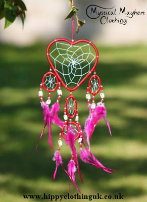 Small Red Cotton 5 Ring Love Heart Dreamcatcher with Feathers