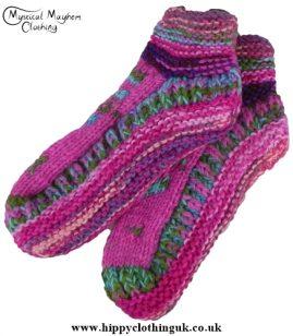 Standard size Wool Fleece Lined Socks Pink