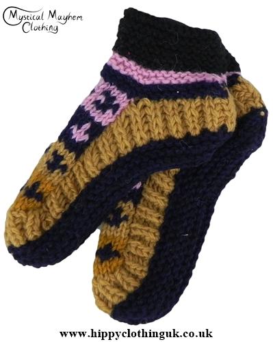 Standard size Wool Fleece Lined Socks Pink Brown