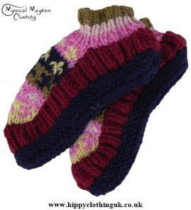 Standard size Wool Fleece Lined Socks Pink Burgundy Blue