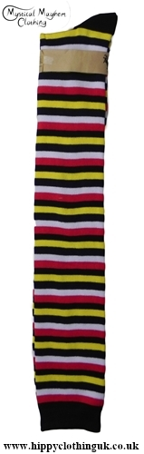 Striped Over the knee high socks Yellow Black Red
