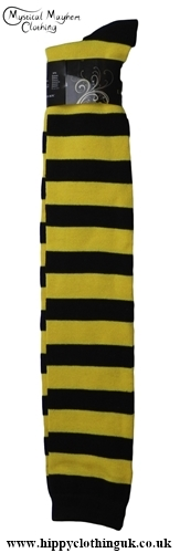 Striped Over the knee high socks Yellow