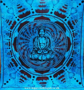 Turquoise Buddha Pattern Throw, Wall Hanging, Bed Spread