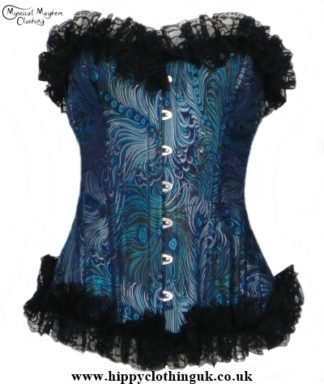 Turquoise Peacock Frills Overbust Corset