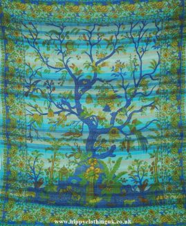 Turquoise Tree of Life Throw, Bed Spread, Wall Hanging