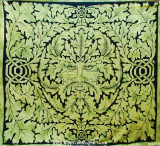 Green Man Pattern Throw, Wall Hanging, Bed Spread, Olive Green