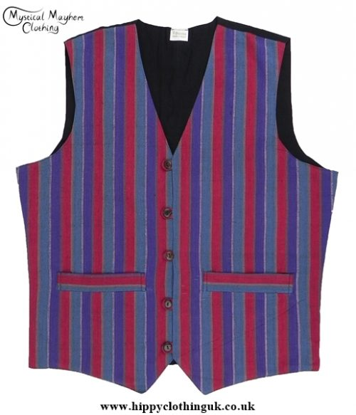 Striped Multicoloured Nepalese Cotton Waistcoat