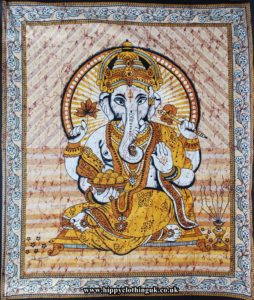 Yellow and Brown Striped Ganesh Throw, Bed Spread, Wall Hanging
