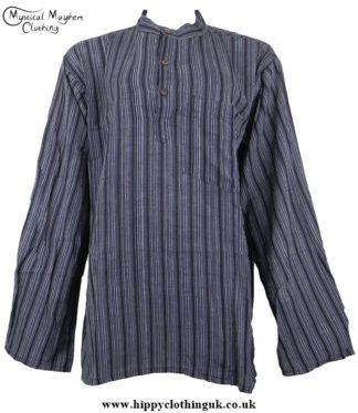 Charcoal Nepalese collarless grandad shirt