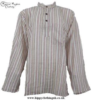 Cream beige Nepalese collarless grandad shirt