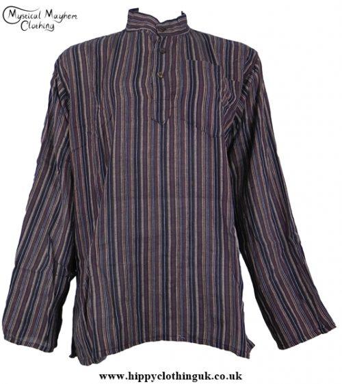 Dark Brown Nepalese collarless grandad shirt