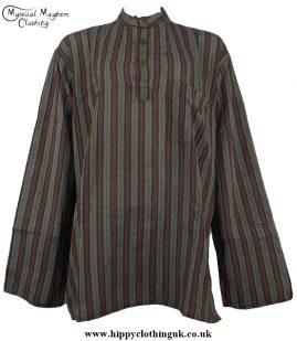Dark Green Nepalese collarless grandad shirt