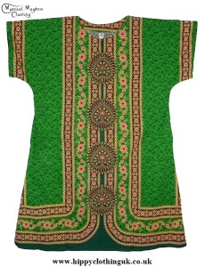 Green Coloured Long Cotton Thai Kaftan Dress Unisex